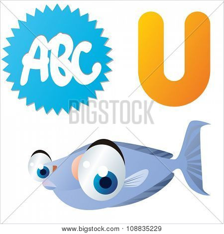 vector funny animals alphabet collection: U is for cute comic Unicornfish