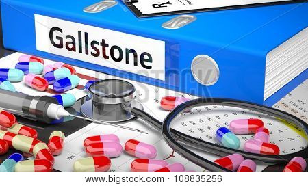Illustration of doctor's desktop with different pills, capsules, statoscope, syringe, blue folder with label 'Gallstone'