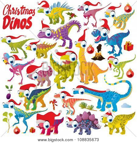 Vector comic funny cute colorful collection set of christmas dinosaurs with fir tree, presents, holly and santa hats