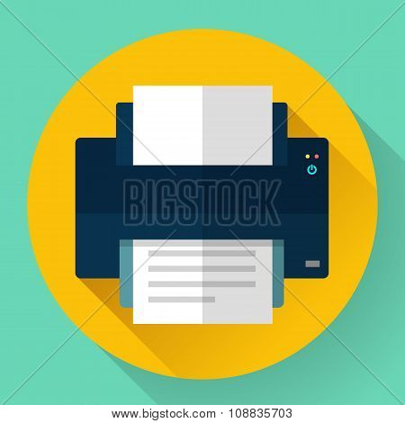 Printer icon, vector illustration. Flat design style.