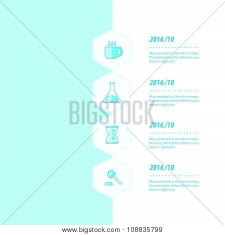 Timeline, Infographic Template Design Bule Color