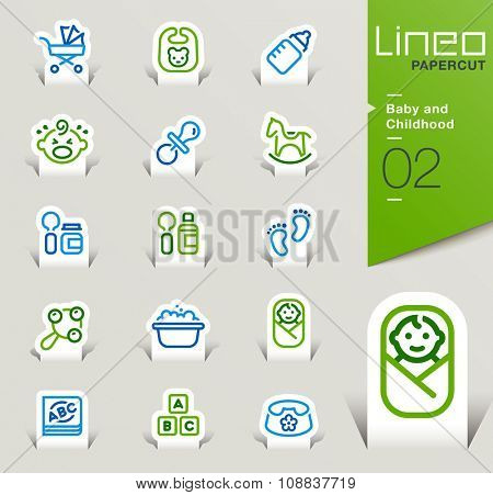 Lineo Papercut - Baby and Childhood outline icons