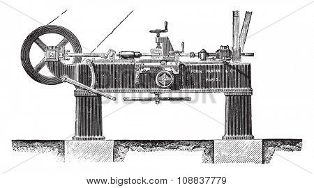 Machine slotting wheels, Elevation, vintage engraved illustration. Industrial encyclopedia E.-O. Lami - 1875.