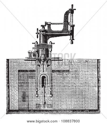 Drill machine room of a hub and place the wheel box, vintage engraved illustration. Industrial encyclopedia E.-O. Lami - 1875.