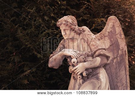 Vintage Image Of A Sad Angel On A Cemetery Against The Background Of Leaves