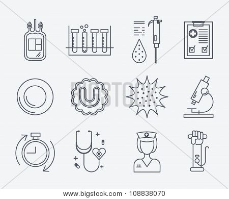 Set of medical icons - blood donation.