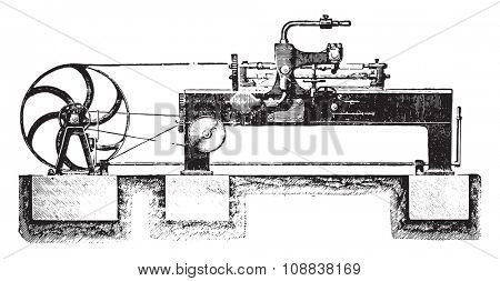 Cutting Machine spokes mechanically, Overview, vintage engraved illustration. Industrial encyclopedia E.-O. Lami - 1875.
