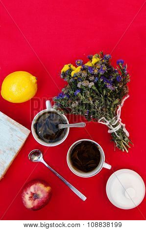a cup of tea, yellow lemon, on a red background, food and drink, knife and fork, tea time, breakfast