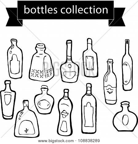 Vector collection of different shaped bottles