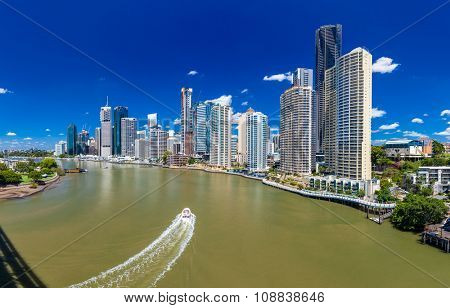 BRISBANE, AUS - NOV 18 2015: Panoramic view of Brisbane Skyline and the river on a sunny day. It is Australias third largest city, capital of Queensland.