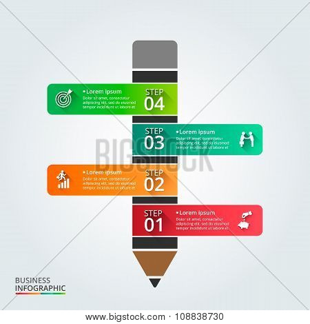 Vector pencil for infographic.