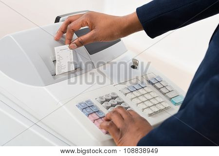 Sales Person Operating Cash Register