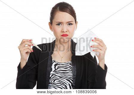 Young Asian Woman Got Sick And Flu