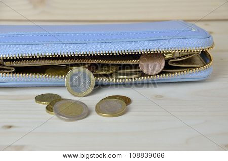 Used Euro Coins Falling Out From Wallet