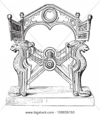 Chair of Dagobert, vintage engraved illustration. Industrial encyclopedia E.-O. Lami - 1875.