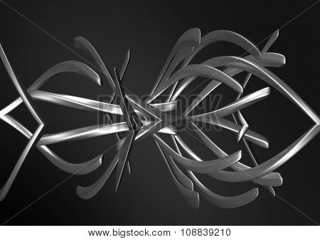 Abstract silver sculpture 3d rendered