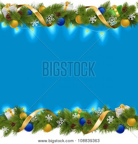 Vector Blue Christmas Border With Garland