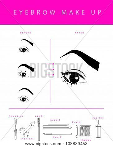 Vector flat eyebrow make up illustration.