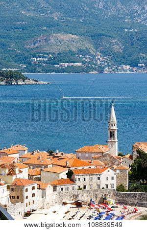 Aerial view of the Old Town Budva in Montenegro. Beautiful architecture and tiled roof of Medieval t