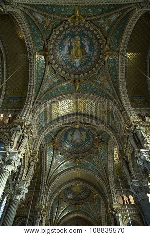 LYON-FRANCE NOVEMBER 19, 2015:  Painting of madonna into the ceiling of the basilica the fourviere in Lyon, France