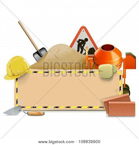 Vector Construction Board With Concrete Mixer