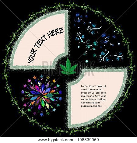Round Frame For Text With Marijuana Leaves And Barbed Wire