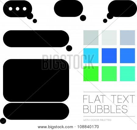 Vector collection of flat conversation boxes.