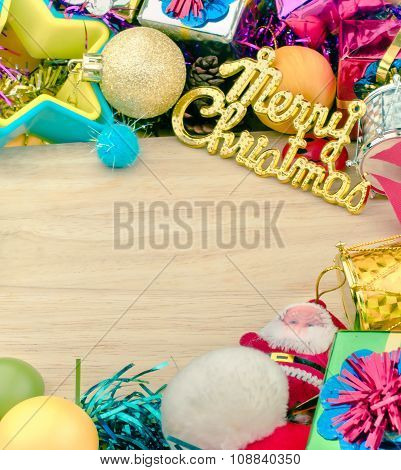Christmas set elements on wooden background with copy space