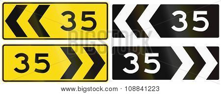 A Collection Of New Zealand Road Signs - Chevron With Advisory Speed
