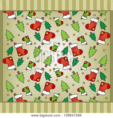 Christmas Background With Stockings, Trees And Stars