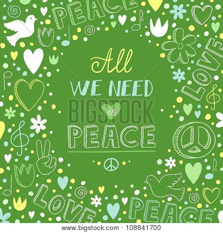 Vector Doodle Green Love And Peace Theme Background With Quote About Peace