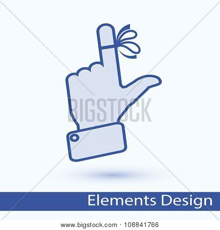 Hand with ribbon on your finger, concepts. Reminder icon.
