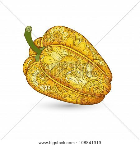 Vector Colored Decorative Bell Pepper With Beautiful Pattern