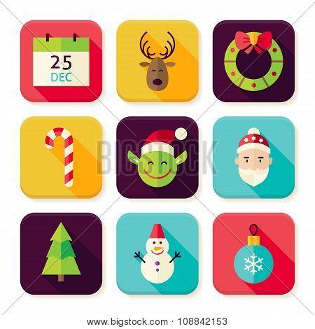 Merry Christmas Winter Square App Icons Set