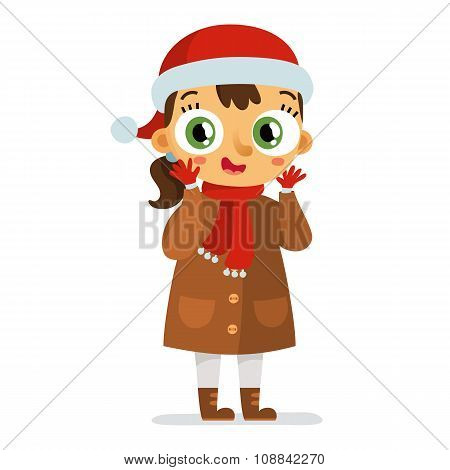 Happy Vector Girl In Santa's Hat Isolated On White
