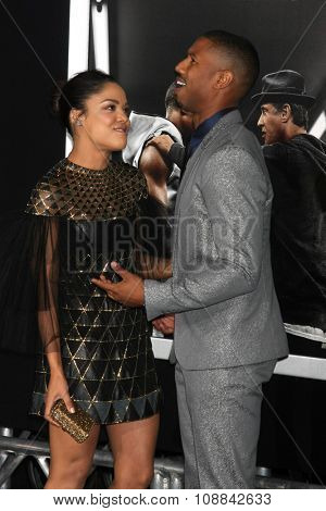 LOS ANGELES - NOV 19:  Tessa Thompson, Michael B. Jordan at the