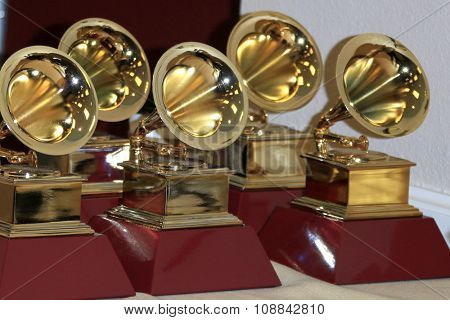LAS VEGAS - NOV 19:  Grammy Award Statues at the 16th Latin GRAMMY Awards at the MGM Grand Garden Arena on November 19, 2015 in Las Vegas, NV