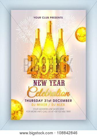 Creative Flyer, Banner or Pamphlet design with golden champagne bottles on glossy fireworks background.