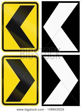 A Collection Of New Zealand Road Signs - Chevrons