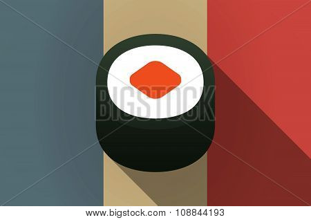 Long Shadow Flag Of France Vector Icon With A Piece Of Sushi Maki