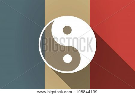 Long Shadow Flag Of France Vector Icon With A Ying Yang