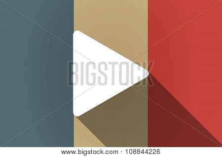 Long Shadow Flag Of France Vector Icon With A Play Sign