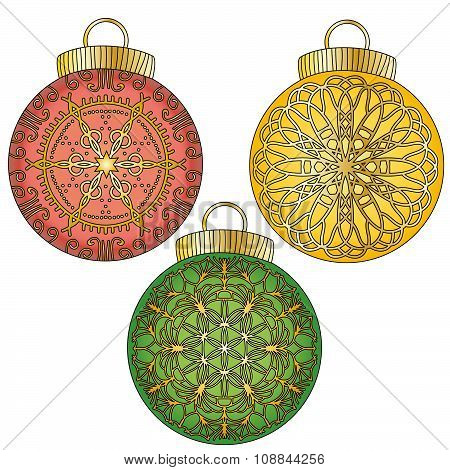 Colorful bauble with ornaments collection