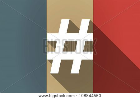 Long Shadow Flag Of France Vector Icon With A Hash Tag