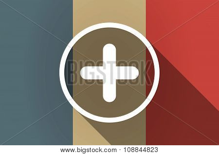 Long Shadow Flag Of France Vector Icon With A Sum Sign