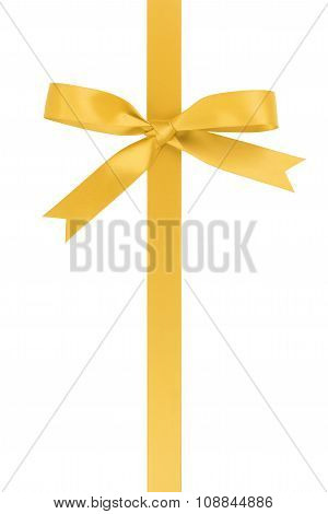 vertical yellow ribbon with bow from above