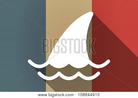 Long Shadow Flag Of France Vector Icon With A Shark Fin