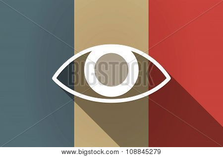 Long Shadow Flag Of France Vector Icon With An Eye