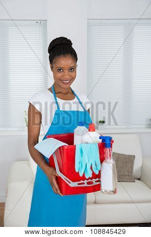 Woman With Basket And Cleaning Equipment
