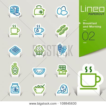 Lineo Papercut - Breakfast and Morning outline icons